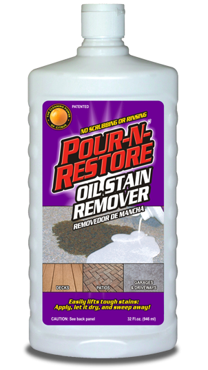 Diy concrete stain remover diy do it your self for Remove oil from concrete floor